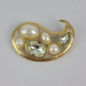 Gold Tone Hammered Faux Pearl Brooch